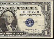 1935 $1 EXPERIMENTAL B-B BLOCK SILVER CERTIFICATE DOLLAR BILL NOTE MONEY Fr 1607