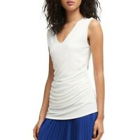 DKNY NEW Women's Ivory Ruched V-neck Blouse Shirt Top M TEDO