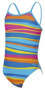 Zoggs Junior Girls Folk Tale Yaroomba Floral Stripe Swimsuit Ages 6 - 14