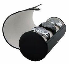 Classic Black Vegan Leather Watch Roll Organizer by Case Elegance