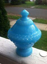 Unusual EAPG Sky Blue Milk Glass Lidded Dish Super Ornate
