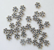50 Metal Antique Silver Colour Daisy Flower Spacer Beads- 6mm