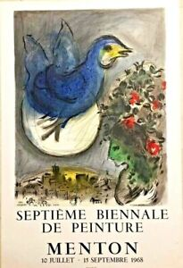 Marc Chagall The Blue Bird 1968 Exhibition Lithograph poster