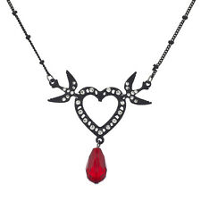 Lux Accessories Rocker Black Plated Heart and Dove Pave Necklace
