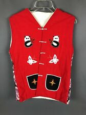Panda Butterfly Frog Patchwork Handmade Quilted Vest Red Medium