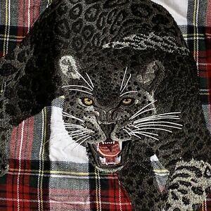 Williams Sonoma Home PANTHER Cat Embroidered Plaid Tartan Pillow Cover 20x20 New