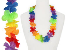 2X Collar Hawaiano de Flor Artificiales Arco Iris Hawái Party Multicolor Aprox.