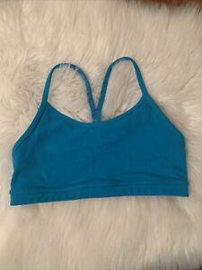 lululemon 4 racerback sports bra light blue compression comfy