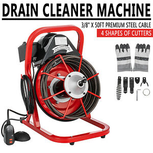 """50' x 3/8"""" Drain Cleaner Cleaning Machine W/foot switch Plumbing Sewer Snake"""