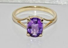 9ct Gold Amethyst Solitaire Ladies Ring size O