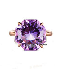 Solitaire 12mm Amethyst Engagement Ring 14K Rose Gold Wedding Bridal Gift 6#