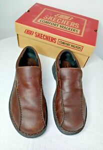 NEW Skechers Brown Shoes Mens 10.5 Slip On Comfort Walkers Casual Leather Loafer