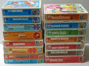 Vintage Disney Looney Tunes Peanuts Rocky & Bullwinkle JIGSAW PUZZLE LOT Whitman
