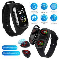 Sports Smart Watch w/Wireless Bluetooth 5.0 Headset Tws Earbuds Headphones 2in1