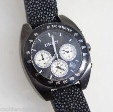 DKNY Women's Watch NY5075 Chronograph Black Leather Strap