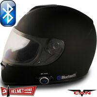 VCAN V136B BLUETOOTH MATTE FLAT BLACK FULL FACE MOTORCYCLE HELMET DOT XS - XL
