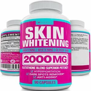 NUTRAFAZA SKIN WHITENING PILLS 2000mg Glutathione Brightening Lightening 90 Caps