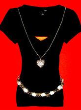 H&M SHIRT SCHWARZ GOTHIC ROCKABILLY BoHo XS 34 36 NEU !!! TOP !!!