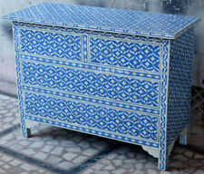 Handmade Bone Inlay Blue Sideboard Buffets Cabinet