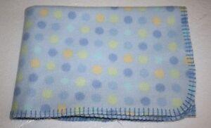 "Parents Choice Blue Fleece BABY BLANKET Yellow Polka Dots Stitched Trim Edge 39"""