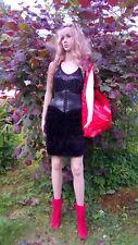 Mini skirt.Pencil skirt Knit skirt Knit skirt their mohair and decofur Handmade