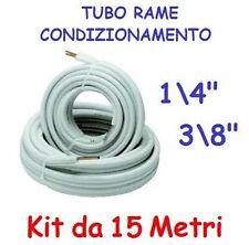 """KIT METRI 15 MT TUBO ROTOLO RAME CONDIZIONAMENTO CLIMATIZZATORE 1/4"""" + 3/8"""""""