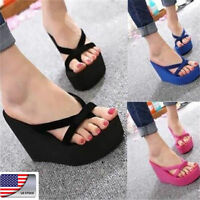 NEW US Womens Wedge Platform Thong Flip Flops Sandals Beach Slipper Shoes 2019