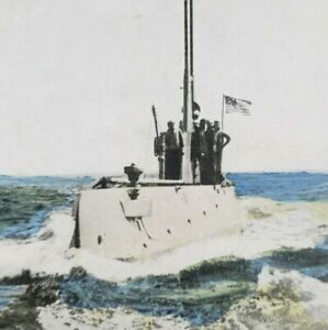 Submarine USS F-1 SS-20 Ship Navy Boat Lithograph Lithoview Stereoview B226