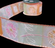 """10 Yards Orange Green Pink Daisy Daisies Flowers Wired Ribbon 2 1/2""""W"""