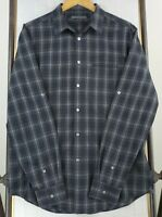 JOHN VARVATOS USA Large Mens Black White Plaid Roll Up Sleeve Button Down Shirt