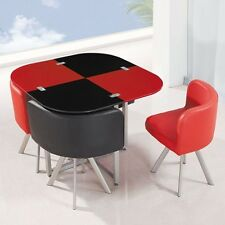 NEW MODERN space saver set black & red square Glass Dining Table & 4 Chairs