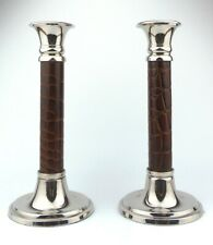 SILVER PLATED LEATHER BOUND COLUMN CANDLE STICKS (Pair) - Height 8.5inch