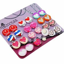 Heart Pattern Glass Dome Magnetic Clip-on Earrings for Teen Girls Kids Women x12