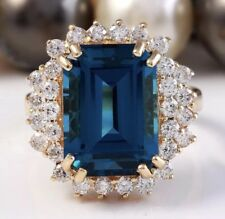10.50 Carat Natural London Blue Topaz and Diamonds in 14K Yellow Gold Ring