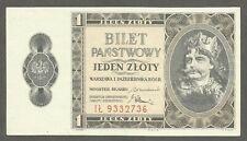 Poland 1 Zloty 1938 UNC