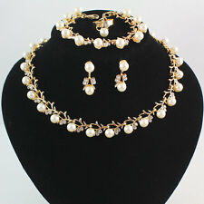 Fashion Women Crystal Pearl Pendant Necklace Wedding Party Jewelry Set Gift