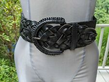 Motif 56 Black Braided Leather Elastic Fabric Belt Size Small Free Ship
