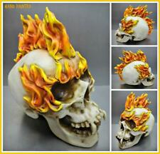 Large Gothic SKULL Skeleton HEAD on Fire Flames Fangs Sculpture Halloween Decor.
