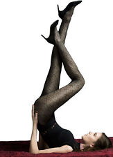 30 Denier 3D Patterned Black Tights, Semi Opaque Pantyhose, Fiore Riddle