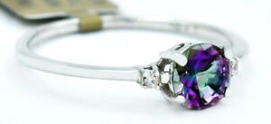 MYSTIC TOPAZ  1.14 Cts & DIAMONDS RING 10K WHITE GOLD ** NWT ** MADE IN USA*