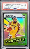 2018 Optic HOLO REFRACTOR Lakers LEBRON JAMES Card PSA 10 GEM MINT - Low Pop 24