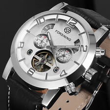 Watch Leather White Silver Automatic Fashion Sports Mechanical Tourbillon Men's