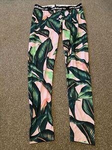 Adidas Originals Women's Leafy/Floral Print Leggings Blue size uk 18 Used