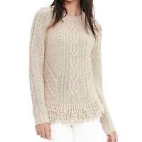 Banana Republic Italian Yarn Fringe Hem Cable Knit Sweater Cream Alpaca Size S