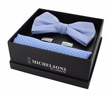 Light Blue Bow Tie, Pin Dot Pocket Square & Cufflink Gift Set