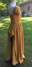 "*Vintage Gold Formal Long Dress Black Lace Velvet Bustle 32""x26""xfree Handmade"
