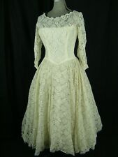 Vtg 50s Cream Floral Lace Tulle Faux Pearl Full Wedding Dress-Bust 34/2XS-XS