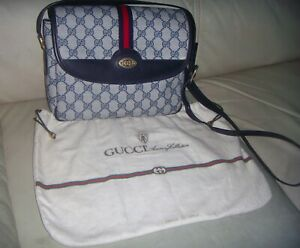Authentic Vintage GUCCI GG WEB Blue Crossbody Shoulder bag ITALY