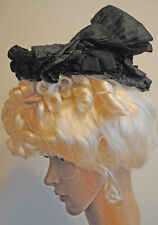 Antique Dress Hat 1890's Black Crepe Museum De-Accessioned Label Mme. Varot