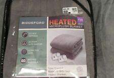 Biddeford Microplush Sherpa Heated Electric Blanket Full/Queen Gray Herringbone